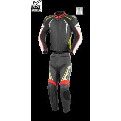 Kombinezon motocyklowy BUSE Silverstone Pro czarno-czerwono-neonowy