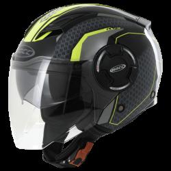 Kask motocyklowy ROCC 284 czarny/neonowo-żółty