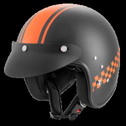 Kask motocyklowy ROCC Classic Pro TT czarny mat-pomarańczowy