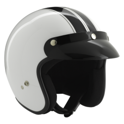 Kask motocyklowy ROCC Classic Dekor biało-czarny