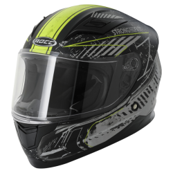 Kask motocyklowy dziecięcy ROCC 415 Jr. czarny mat/neonowy