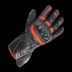 Rękawice motocyklowe damskie BUSE Misano czarno-czerwo-neonowe